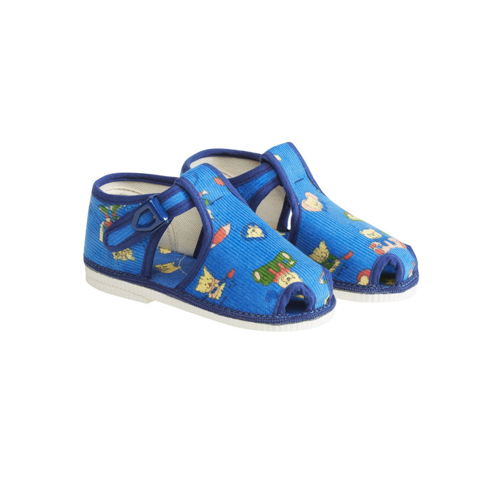 Children's home slippers in an ankle cut bata, blue , 179-9210 - 26