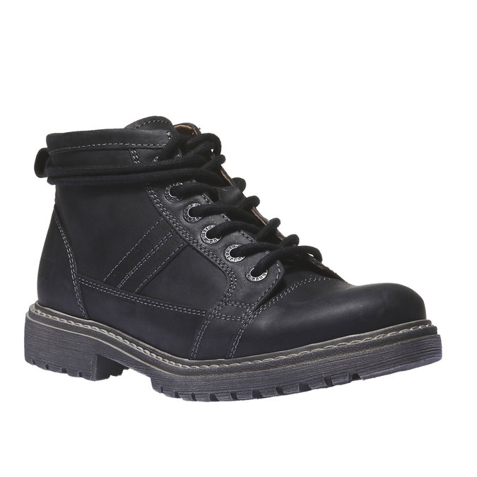 Leather shoes with original lacing weinbrenner, black , 594-6409 - 13