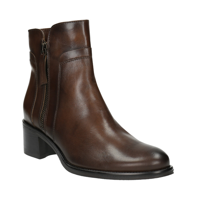 Leather ankle boots with zippers bata, brown , 694-4600 - 13