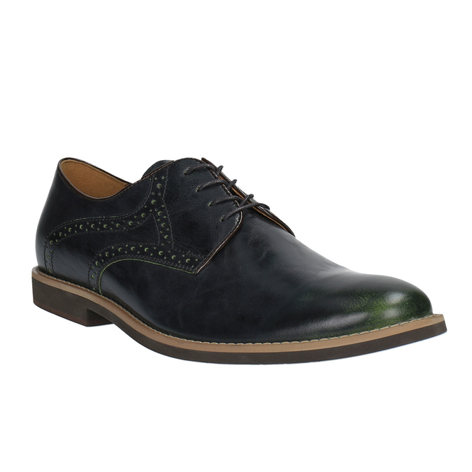 Casual leather shoes with decoration conhpol, blue , 826-7726 - 13