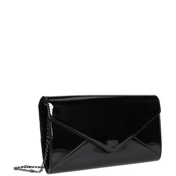 Black women's clutch bag in a lacquered finish bata, black , 961-6624 - 13