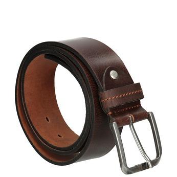 Brown leather belt, brown , 954-3106 - 13