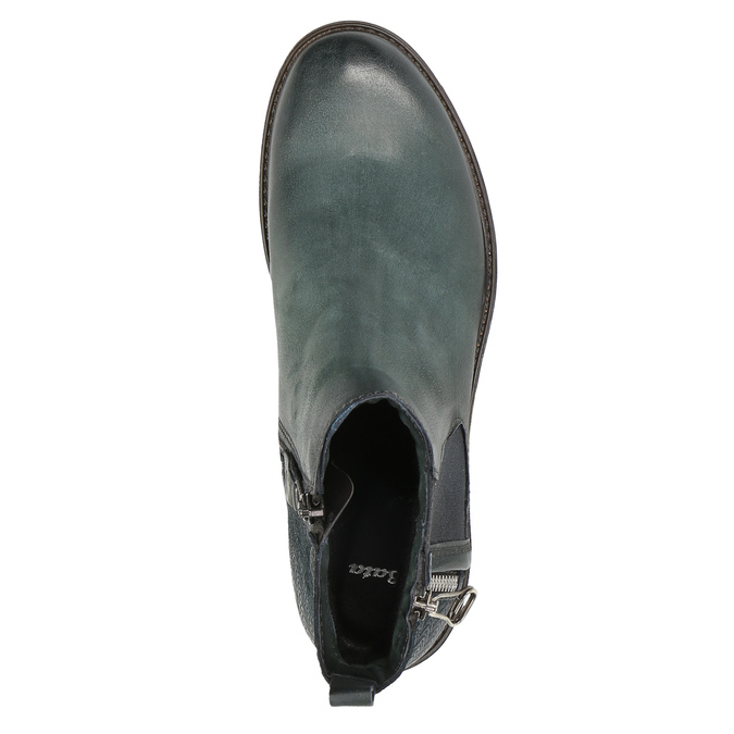 Leather ankle boots with a distinct sole bata, turquoise, 596-9615 - 19