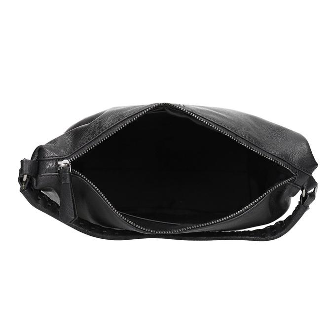 Leather handbag with a detachable strap, black , 964-6233 - 15
