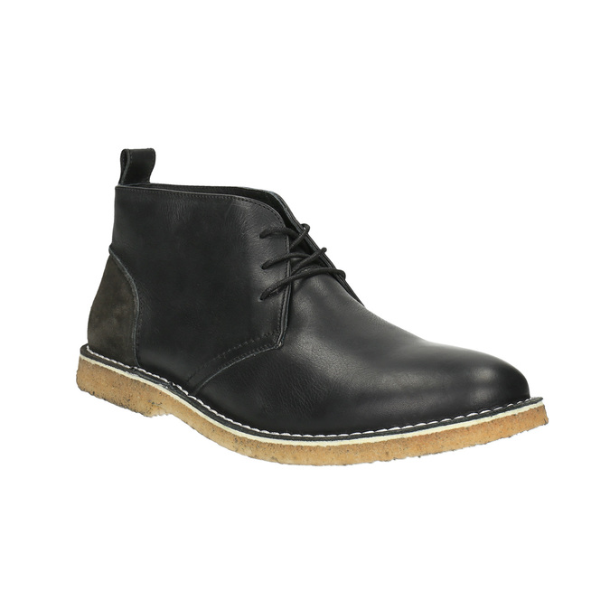 Leather Chukka boots bata, black , 824-6665 - 13