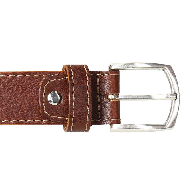 Men's belt with quilting bata, brown , 954-4147 - 26