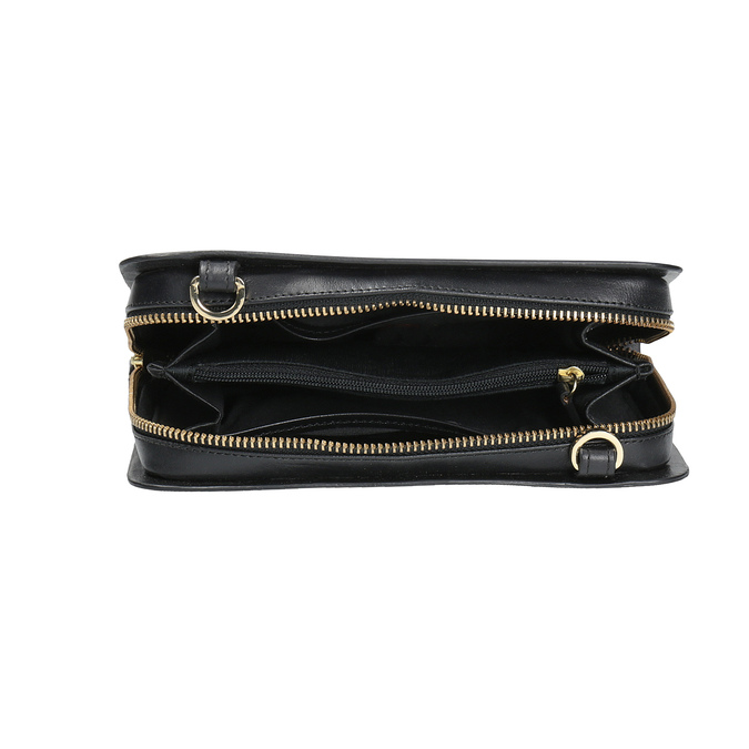 Black leather crossbody handbag royal-republiq, black , 964-6017 - 15