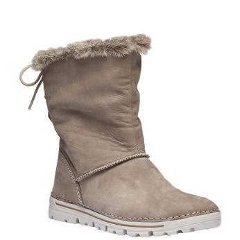 Leather boot weinbrenner, beige , 596-2334 - 13
