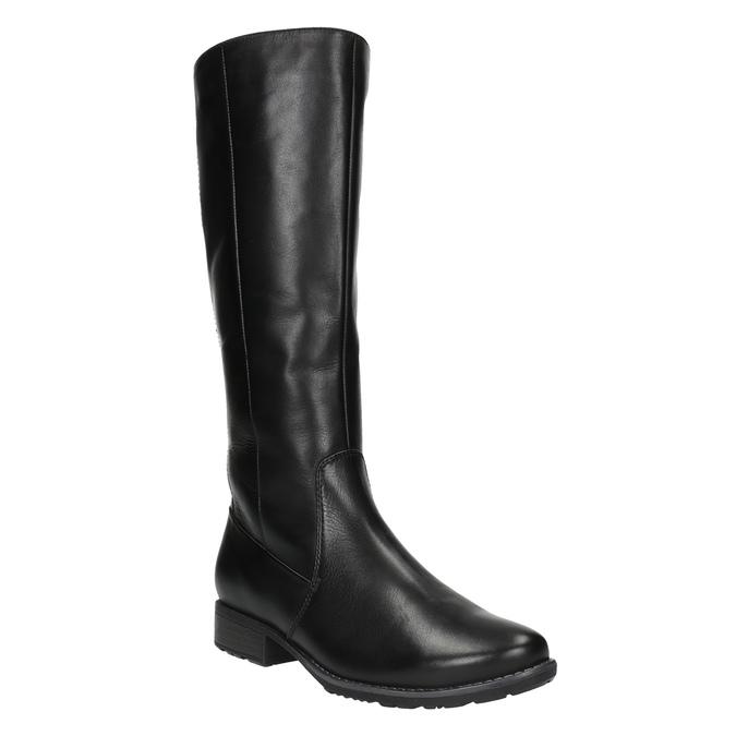 H-width black leather Cossacks bata, black , 596-6611 - 13