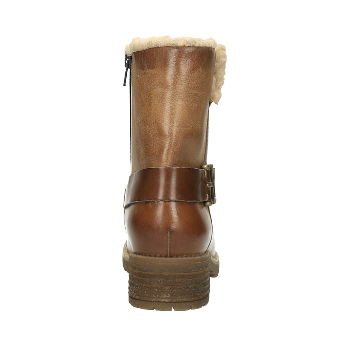 Leather winter boots with fur bata, brown , 594-4609 - 17
