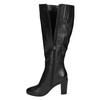 Ladies´ leather Cossacks on a heel bata, black , 694-6633 - 19