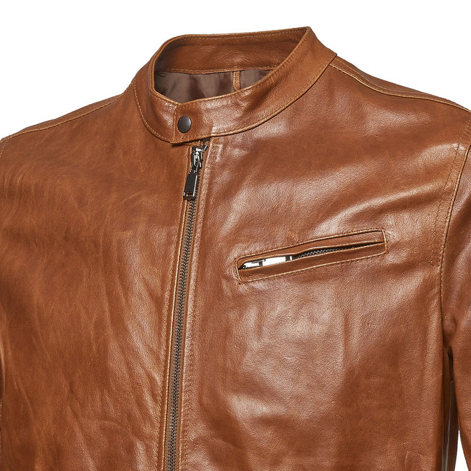 Men's leather jacket with trendy quilting bata, brown , 974-3142 - 16