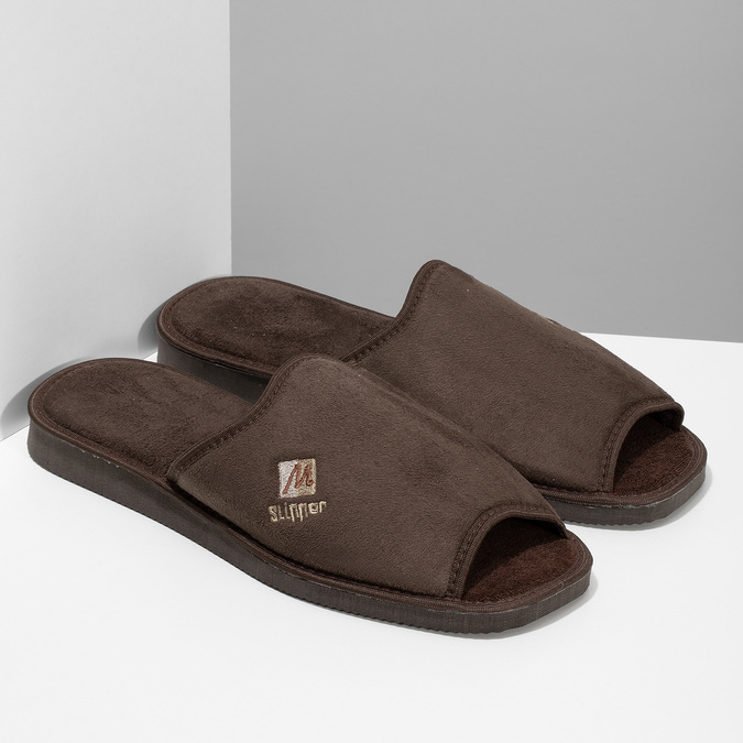Men's slippers bata, brown , 879-4606 - 26