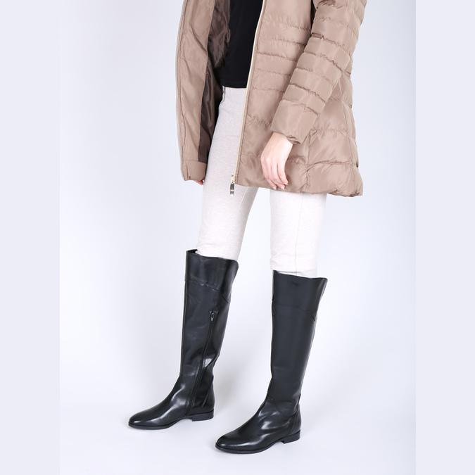 Ladies' leather knee-high boots bata, black , 594-6605 - 18
