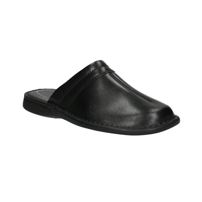 Men's leather slippers, black , 874-6600 - 13