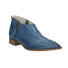 Leather high ankle boots with perforations bata, blue , 596-9647 - 13