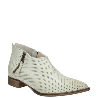 Leather high ankle boots with perforations bata, white , 596-1647 - 13