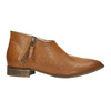 Leather high ankle boots with perforations bata, brown , 596-4647 - 15