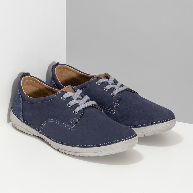 Casual leather shoes, blue , 846-9631 - 26