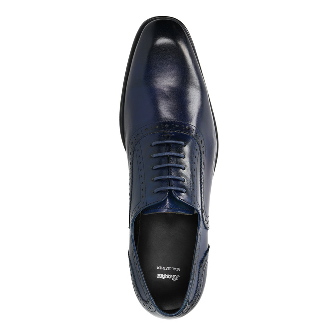 Blue leather Oxford shoes bata, blue , 826-9822 - 19