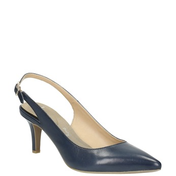 Ladies' leather Sling-back pumps pillow-padding, blue , 624-9638 - 13