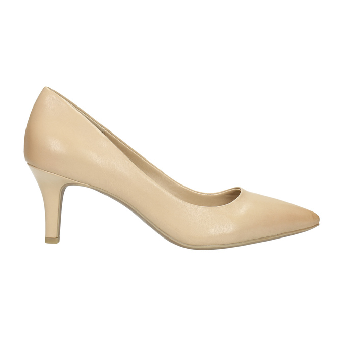 Leather ladies' pumps pillow-padding, beige , 626-8635 - 15