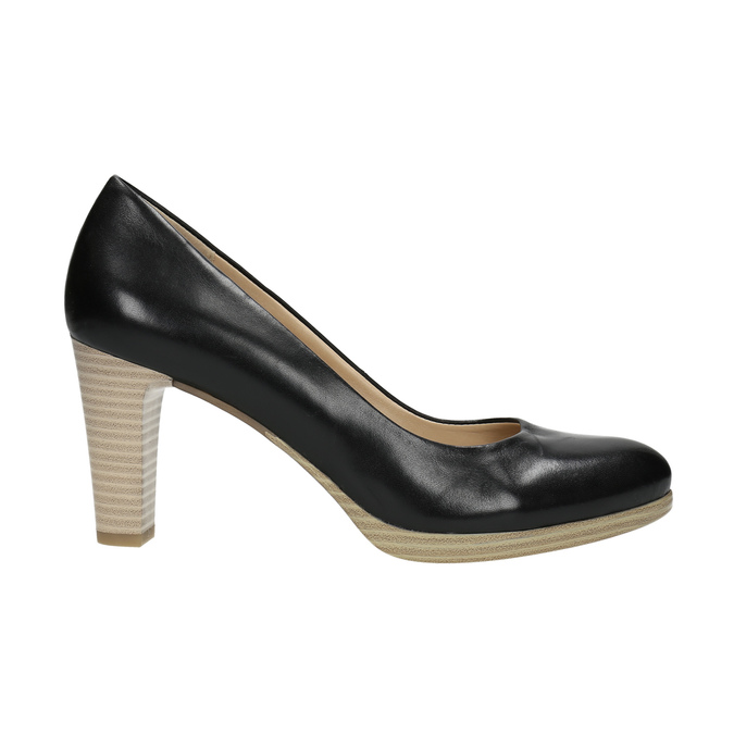 Ladies´ leather pumps pillow-padding, black , 724-6641 - 15