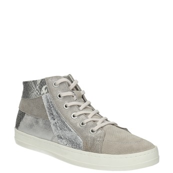 Leather ankle-cut sneakers with pattern bata, gray , 526-2614 - 13