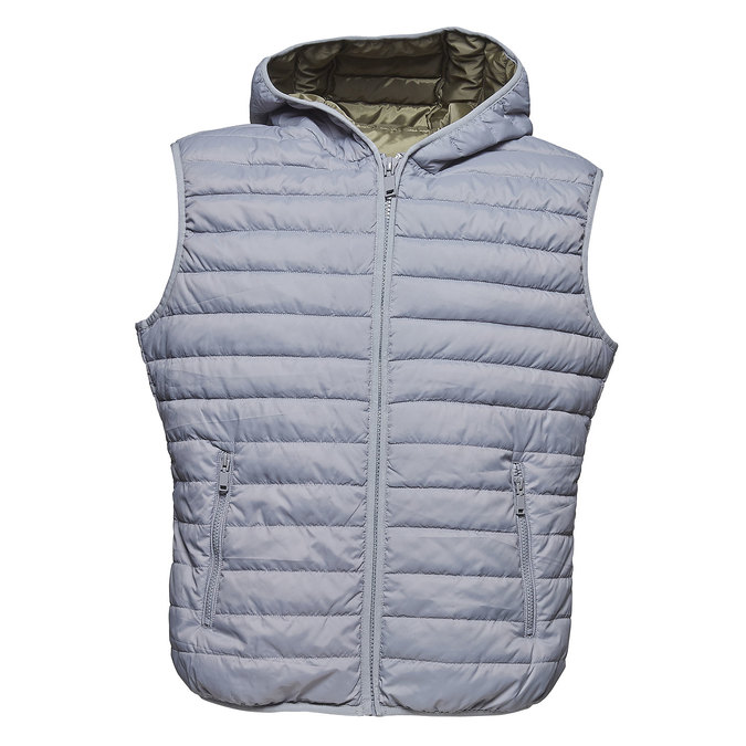 Men's quilted hooded waistcoat bata, gray , 979-2614 - 13