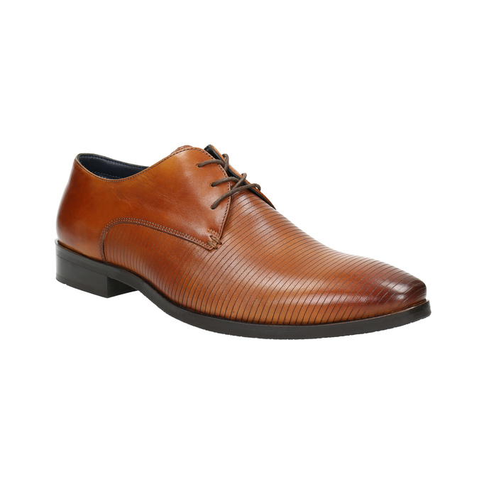Brown leather Derby shoes bata, brown , 826-3804 - 13