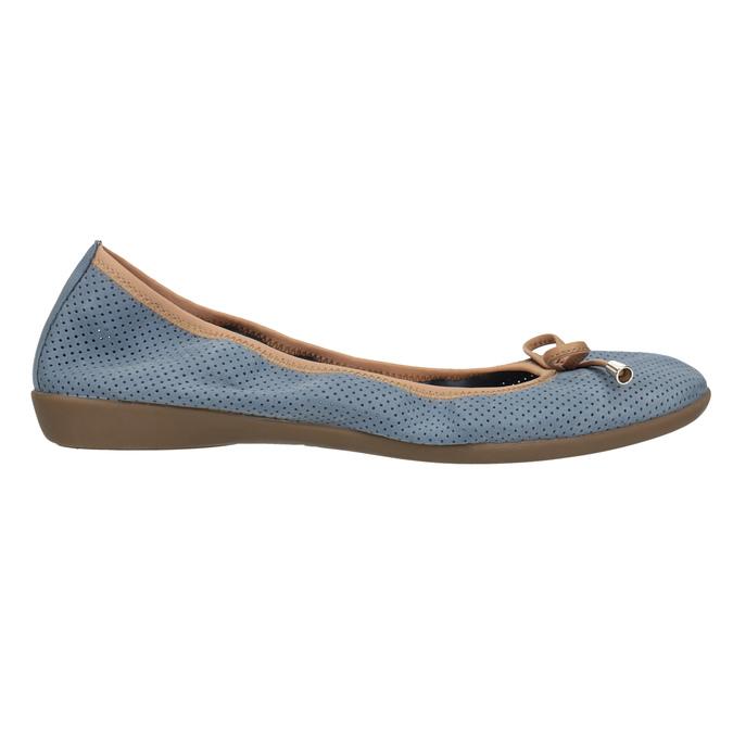 Blue leather ballet pumps with flexible topline bata, blue , 526-9617 - 15