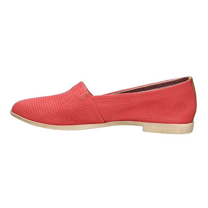 Red leather slip-ons bata, red , 516-5602 - 26