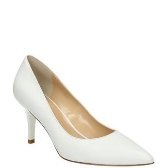 Ladies´ leather pumps bata, white , 624-1632 - 13
