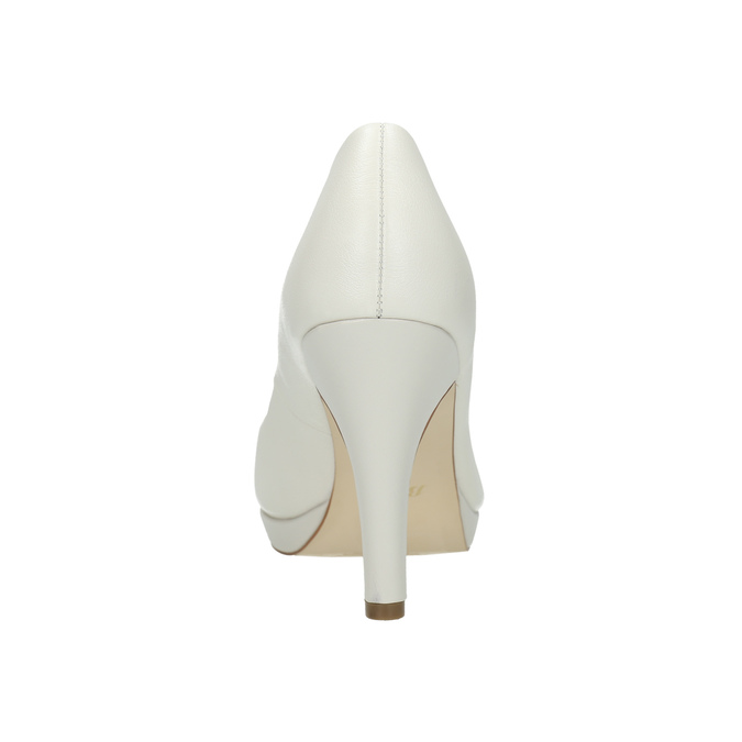 Leather pumps on a Stiletto heel insolia, white , 724-1647 - 17
