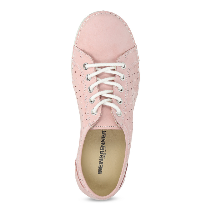Pink leather low shoes weinbrenner, pink , 546-5602 - 17