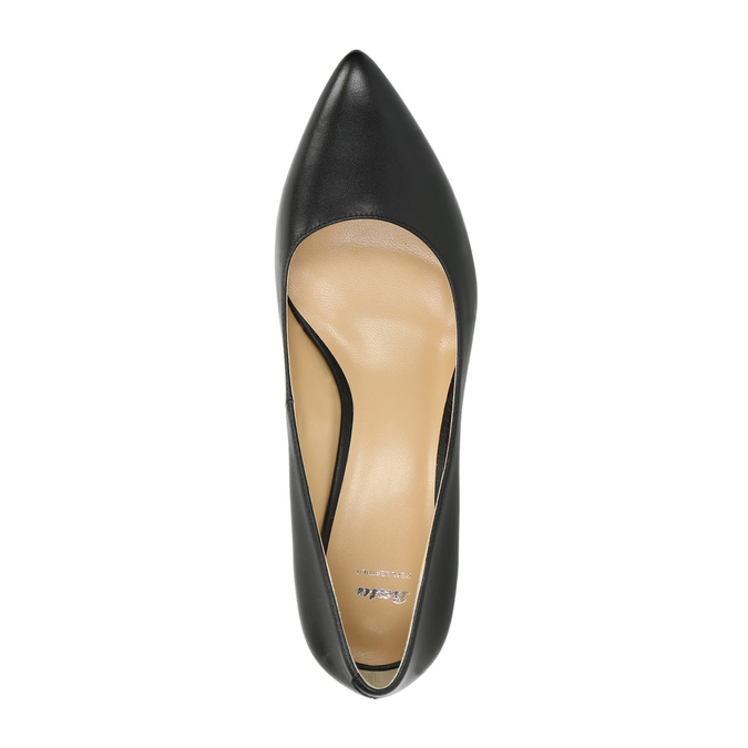 Pointed leather pumps bata, black , 624-6632 - 19