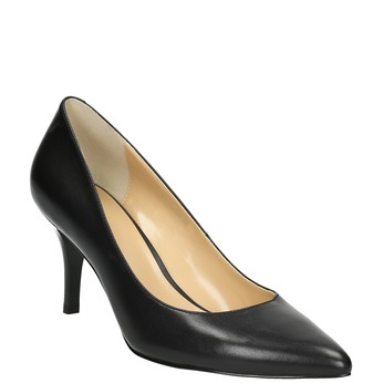 Pointed leather pumps bata, black , 624-6632 - 13