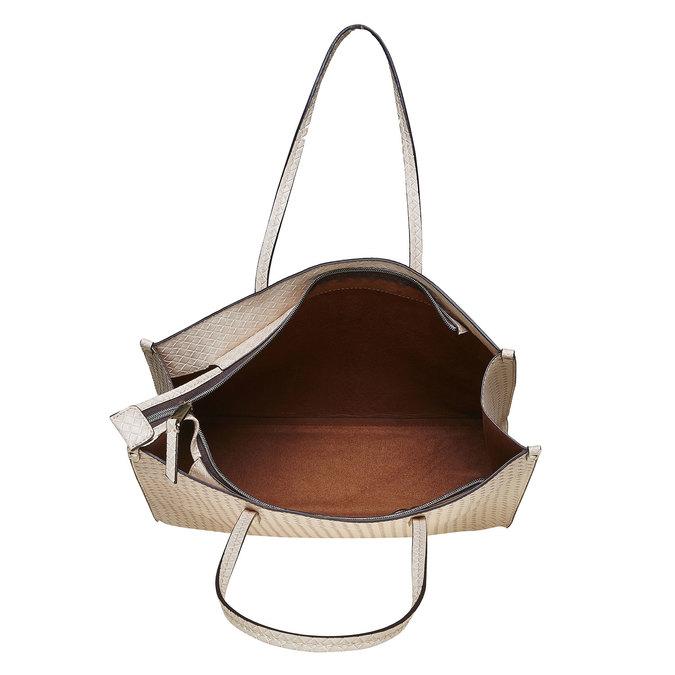 Ladies' cream handbag with braided pattern bata, beige , 961-8289 - 15