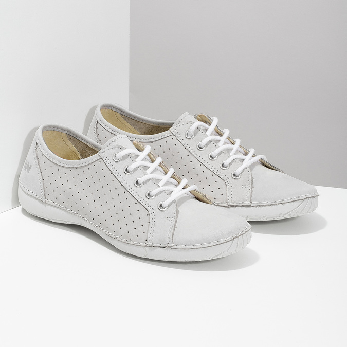 Ladies' casual leather shoes weinbrenner, white , 546-1602 - 26