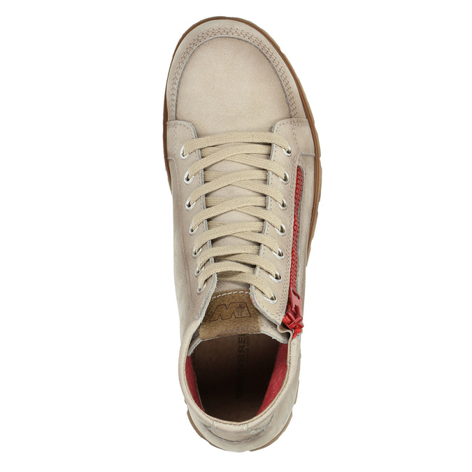 Ankle-cut leather shoes with a red zipper weinbrenner, brown , 596-8654 - 19