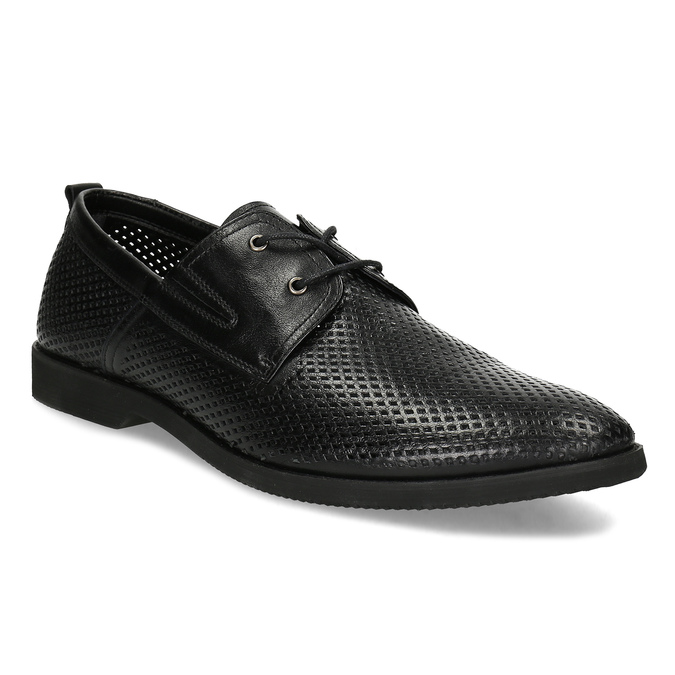 Leather shoes with perforations bata, black , 854-6601 - 13