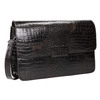 Leather handbag with crocodile pattern vagabond, brown , 966-3030 - 13