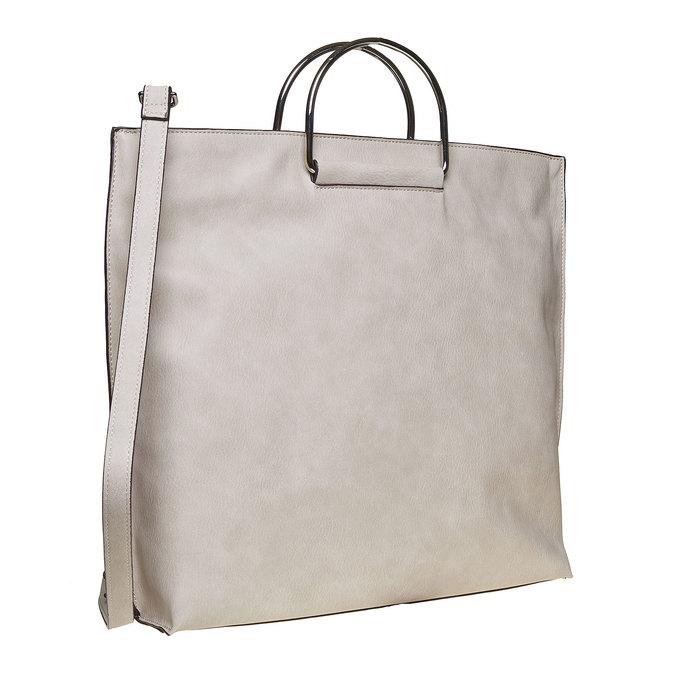 Ladies' cream handbag bata, gray , 961-8327 - 13