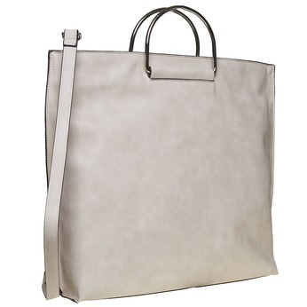 Ladies' cream handbag bata, gray , 961-8327 - 13