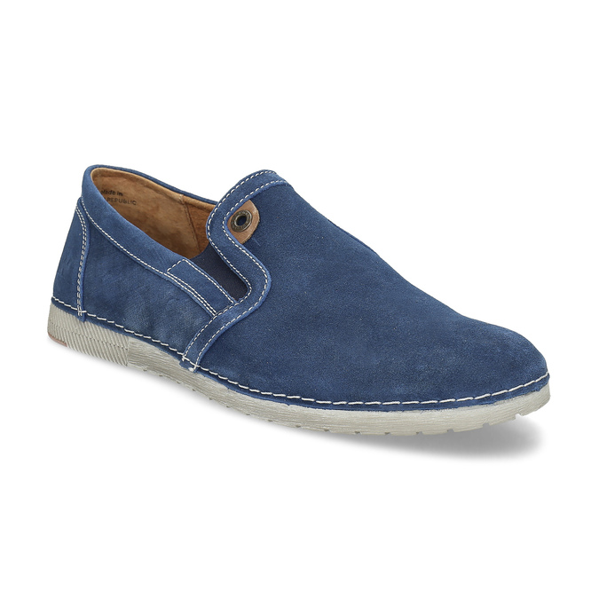 Brushed leather Slip-ons weinbrenner, blue , 833-9601 - 13