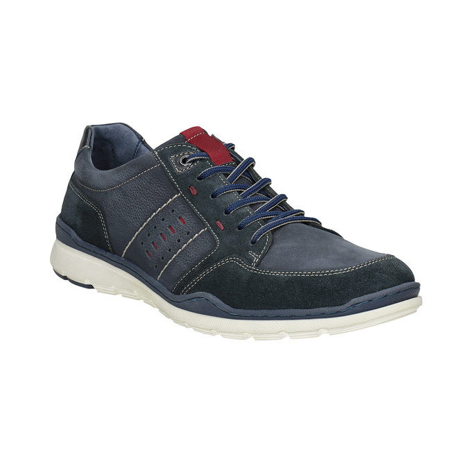 Casual brushed leather sneakers bata, blue , 846-9639 - 13
