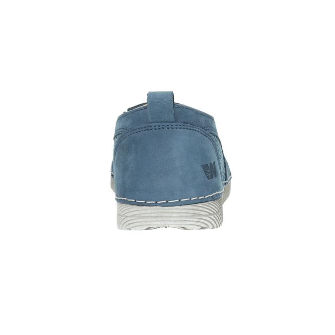 Blue leather slip-ons weinbrenner, blue , 513-9263 - 17