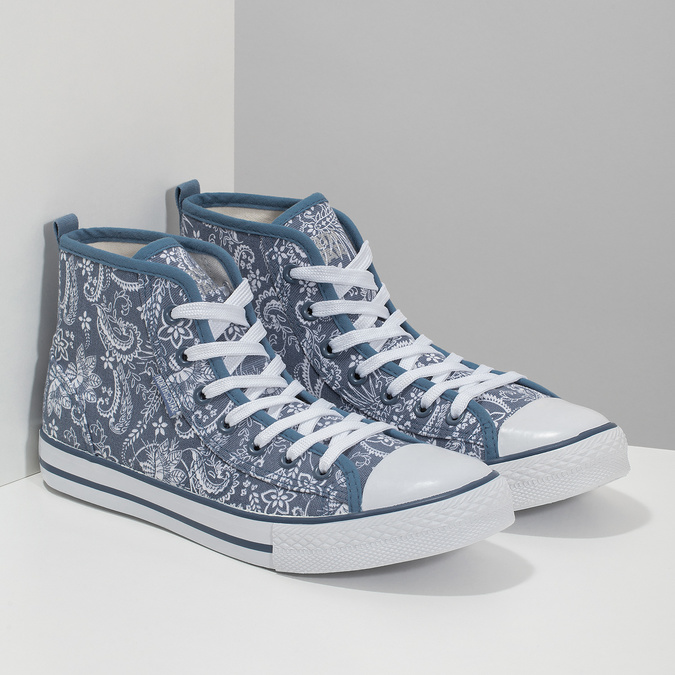 Ladies' patterned ankle sneakers north-star, blue , 589-9442 - 26