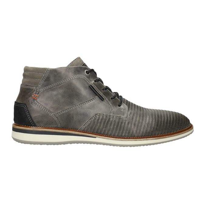 Grey leather ankle boots bata, gray , 826-2912 - 15