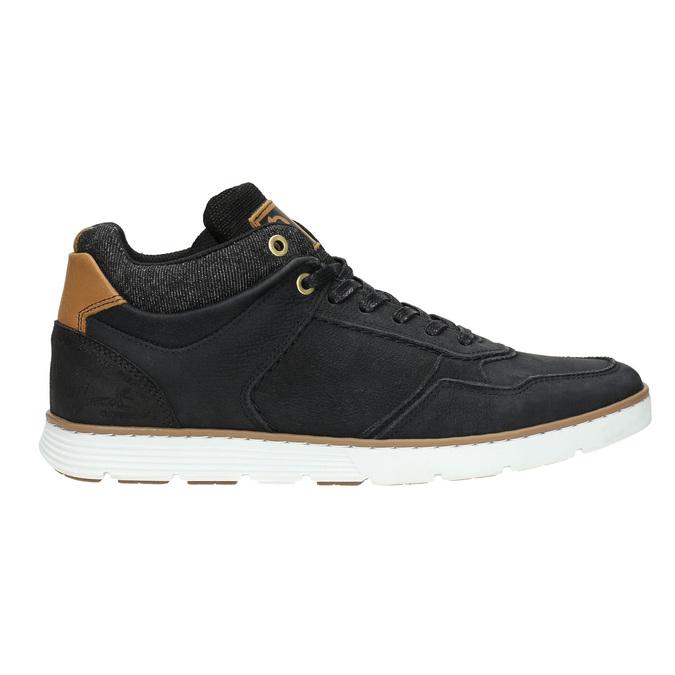 Men's leather high-top sneakers bata, black , 846-6641 - 15